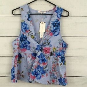 Willow & Clay Blue Floral Sleeveless Peplum Top